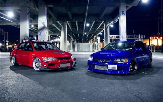 Обои Mitsubishi Evo IX красный синий автомобили
