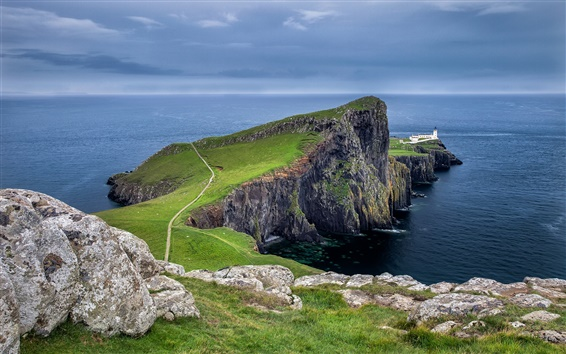Wallpaper Neist Point, Scotland, sky, clouds, lighthouse, rocks, coast