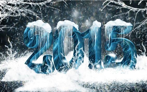 壁紙 新年2015年、雪、つらら