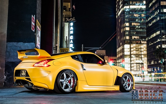 Wallpaper Nissan Z34 370z yellow car
