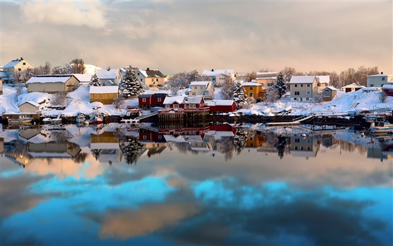 Wallpaper Norway, Lofoten, winter, house, snow, boats, water reflection