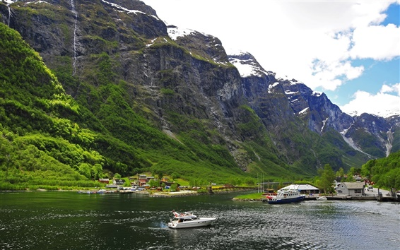 Wallpaper Norway, mountains, snow, boats, house, river