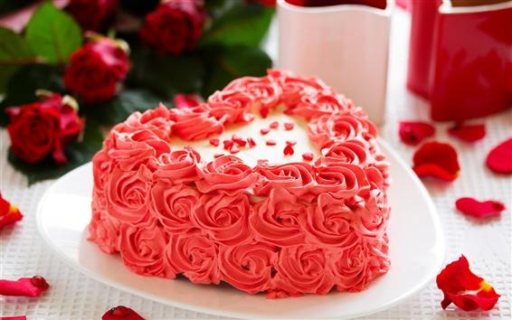 Papéis de Parede Flores cor de rosa bolo, rosa, pétalas