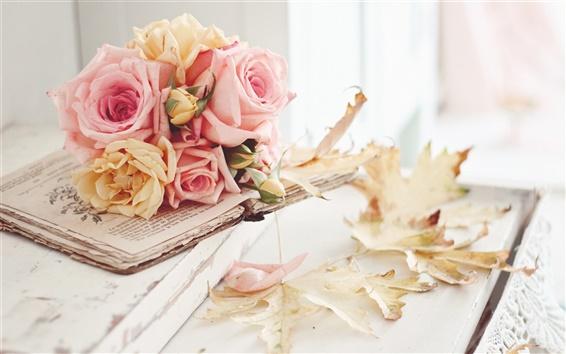 壁紙 ピンクは花、葉、秋のバラ