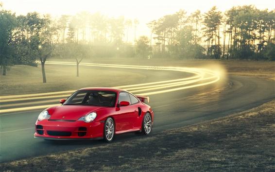 Wallpaper Porsche 911 GT2 red car
