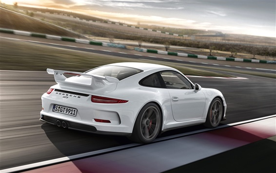 Wallpaper Porsche 911 GT3 white car in the track