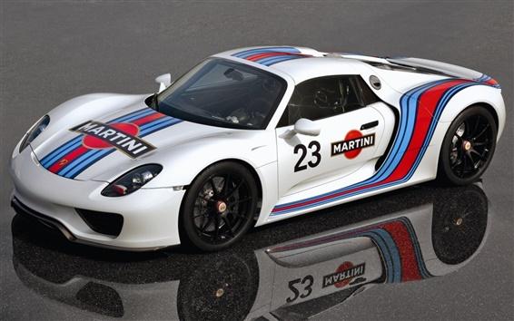 Fond d'écran Porsche 918 Spyder prototype supercar blanc