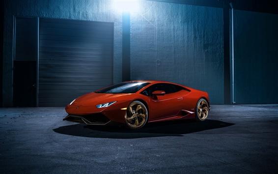 Papéis de Parede Red Lamborghini LP610-4 Huracan supercar
