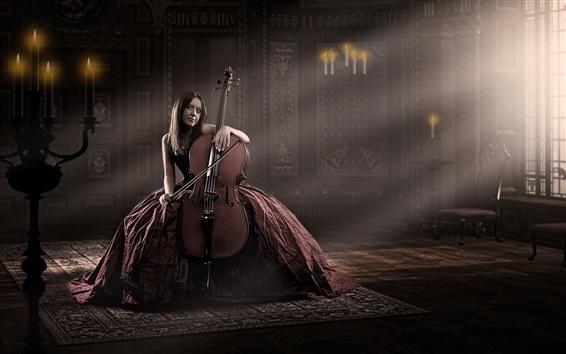 Обои Красное платье девушка, виолончель, музыка