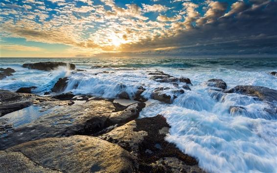 Обои Скалы, морские волны, солнце, небо, облака, закат