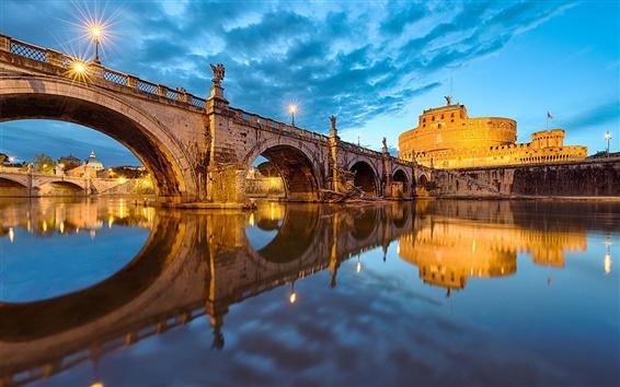 Wallpaper Rome, Italy, Vatican, St. Angelo Bridge, lights, river