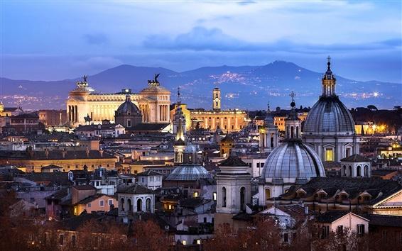 Fond d'écran Rome, Italie, architecture, ville, soir, maison, lumières