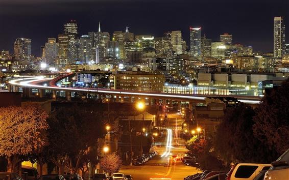 Обои Сан - Франциско, Калифорния, США, ночь, огни, дома, небоскребы, мост