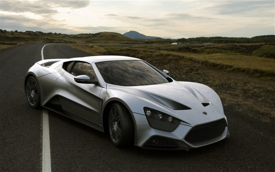 Wallpaper Silver Zenvo St1 supercar