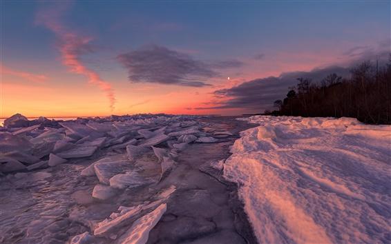 Обои Снег, лед, озеро, деревья, восход, зима