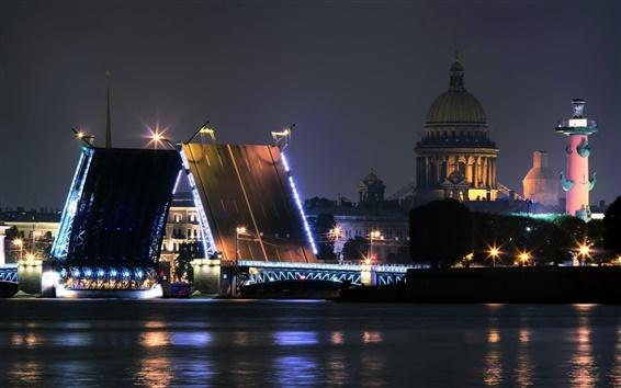 壁紙 サンクトペテルブルク、ロシア、川、橋、夜、都市、ライト