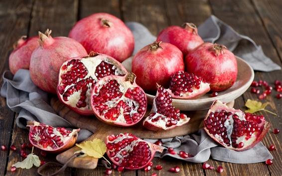 Wallpaper Still life of fruits, red pomegranate
