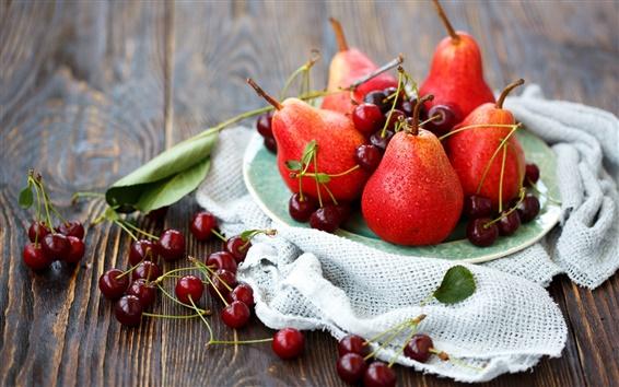 Обои Натюрморт, груши, вишни