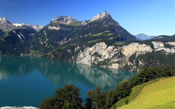 Wallpaper Switzerland, Morschach, mountains, lake, nature scenery