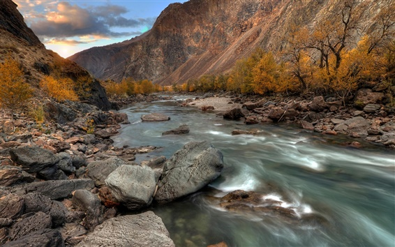 Wallpaper The Altai mountains, river, stones