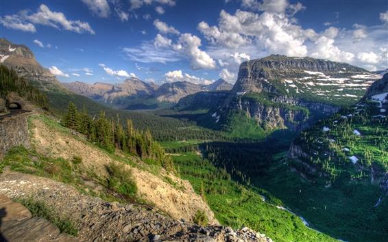 Fond d'écran États-Unis, Montana, canyon, arbres, nature, nuages