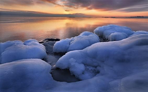 壁纸 乌普兰,瑞典,冬天,海,冰,日出
