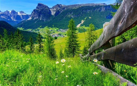 Wallpaper Village, house, grass, flowers, fence, trees, mountains, summer