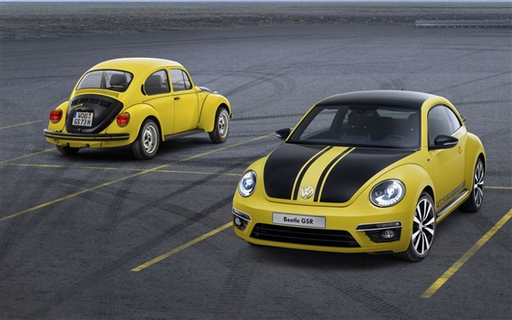 Wallpaper Volkswagen, Beetle, yellow car