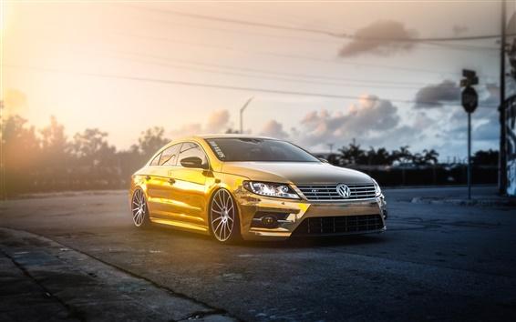 Wallpaper Volkswagen Passat CC gold car, sunlight