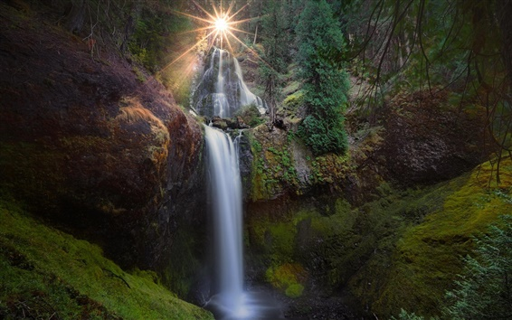 Wallpaper Waterfalls, Gifford Pinchot National Forest, Carson, Washington, USA