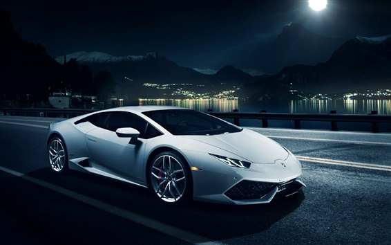 Wallpaper White Lamborghini Huracan LP610-4 supercar, night, city