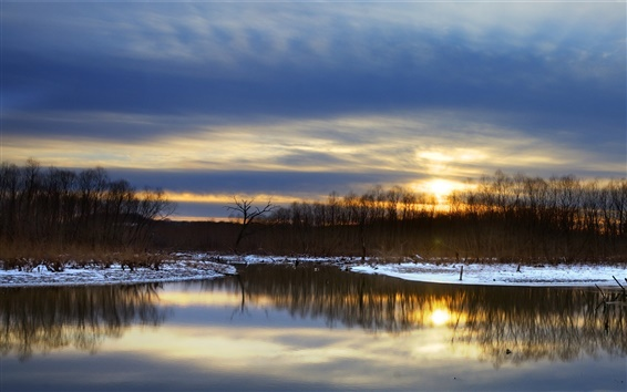 Wallpaper Winter, lake, snow, trees, night, sunset