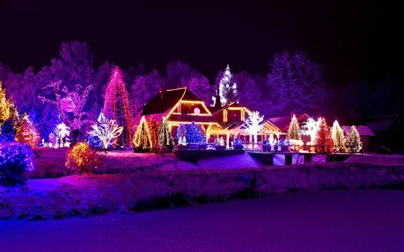 Обои Зима, ночь, огни, новый год, дом, озеро