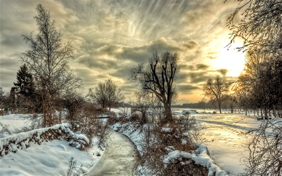 Wallpaper Winter, snow, river, trees, sky, clouds, sunset