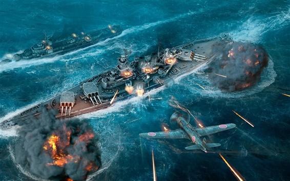 Wallpaper World of Warships, ships, fighter