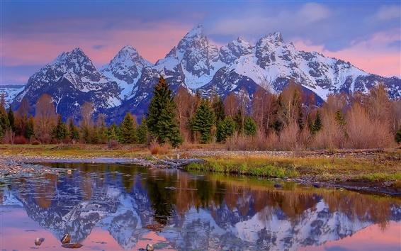 Fondos de pantalla Wyoming, EE.UU., montañas, bosques, lago, rocas, árboles