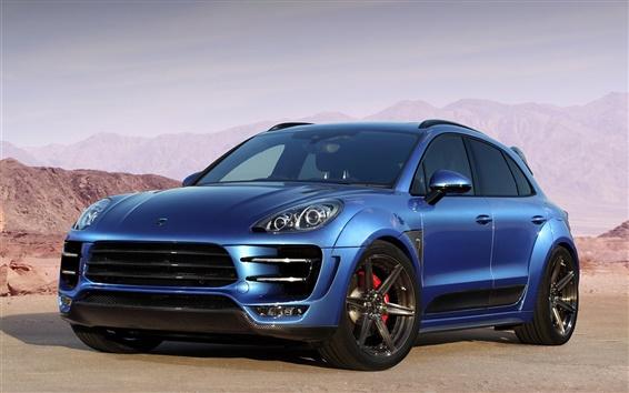 Fond d'écran 2014 Porsche Macan Ursa 95B voiture bleue