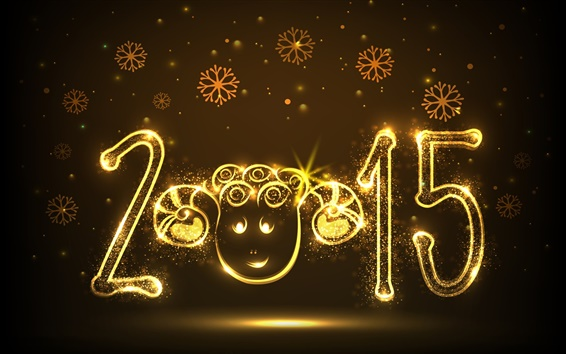 Wallpaper 2015 Happy New Year, sheep year, golden