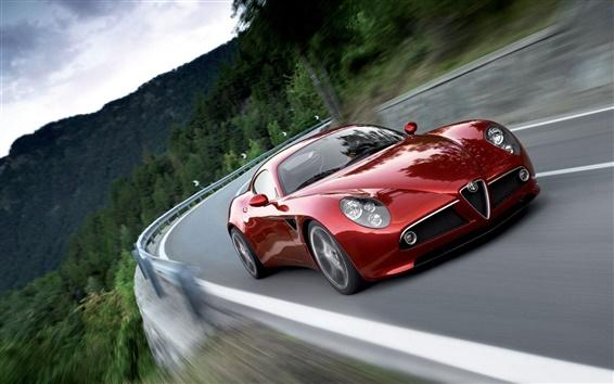 Wallpaper Alfa Romeo 8C red supercar
