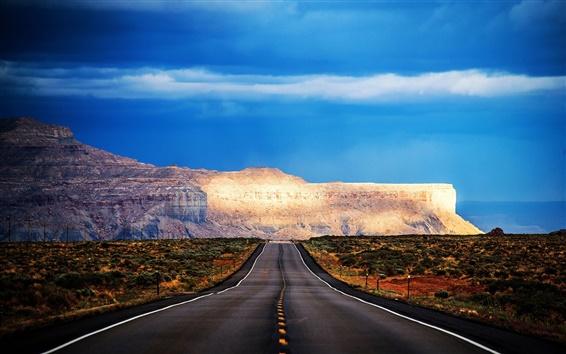 Fond d'écran Arizona, États-Unis, route, montagne, arbres, ciel bleu