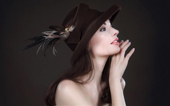 Обои Азиатская девушка, шляпа, черный фон
