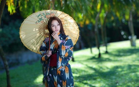 Wallpaper Asian girl, umbrella, retro style dress