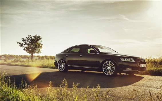 Wallpaper Audi A6 car, glare, road