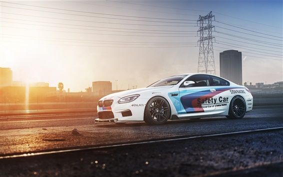 Wallpaper BMW M6 F13 white car side view