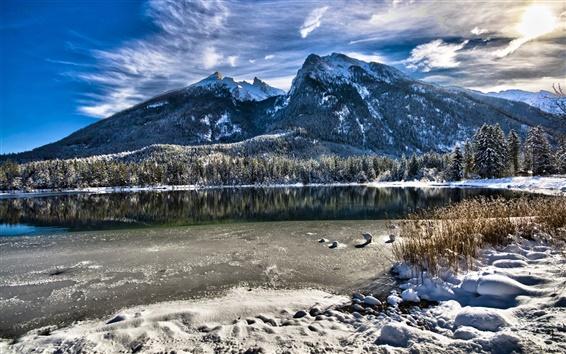 Wallpaper Bavaria, Germany, lake, trees, mountains, winter, snow