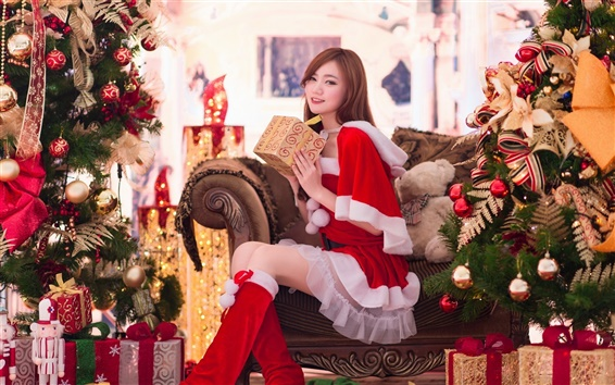 Wallpaper Beautiful girl, Asian, gifts, Christmas, New Year