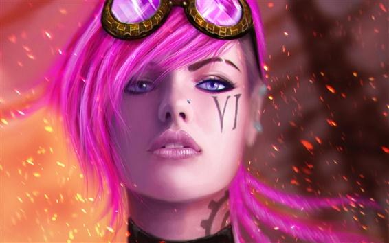 Обои Красивая розовая девушка волосы, очки, искры