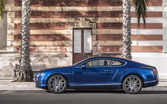 Обои Bentley Continental GT синий автомобиль сбоку