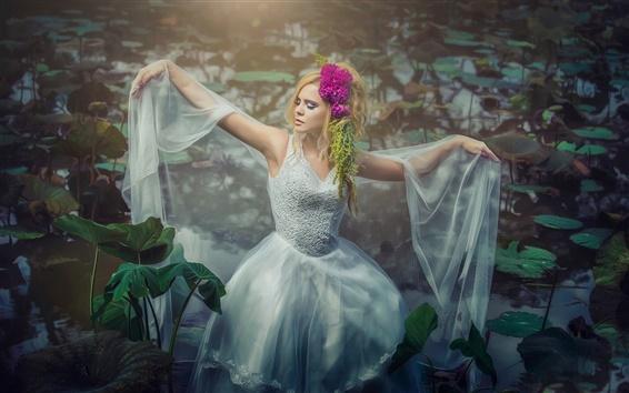Wallpaper Blonde girl dance, water lilies