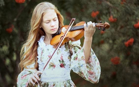 Wallpaper Blonde girl, violin, music